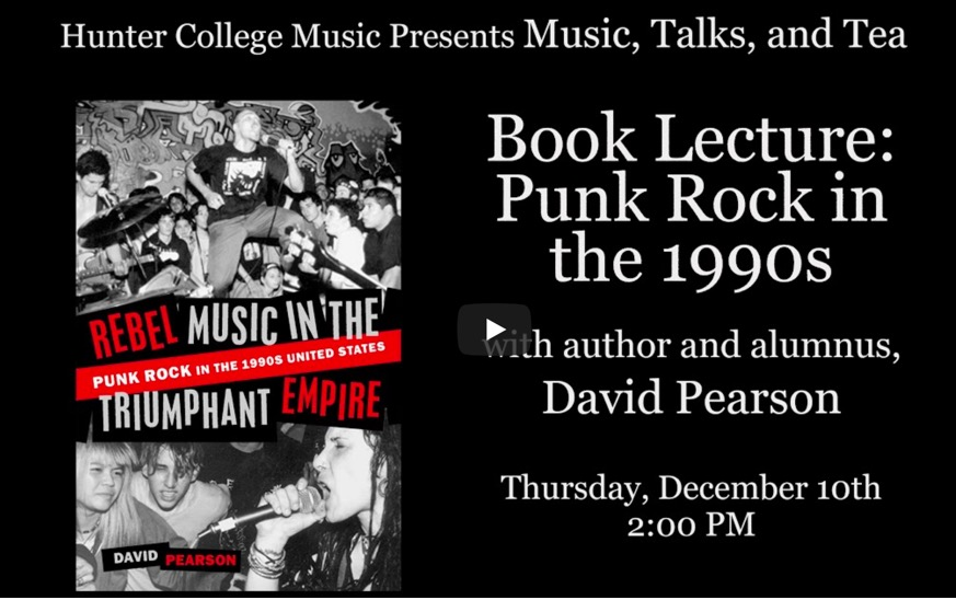 Video thumbnail for Book Lecture: Punk Rock in the 1990s with David Pearson